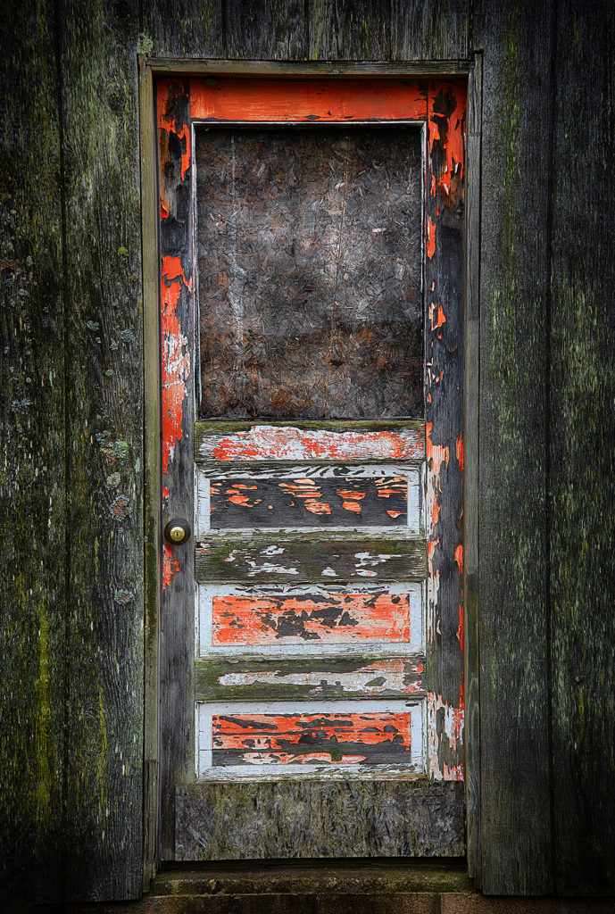 A well worn and interesting door in southern Ohio, USA. (Nikon D810 using a 60mm micro lens - 1/500th sec at f8) Photo by Dick Pratt